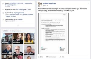 Skärmdump från Civilministerns FB-konto