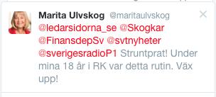 Skärmavbild från Marita Ulvskog, EU-parlamentariker, Twitterkommentar till Tino Sanandajis blogginlägg.