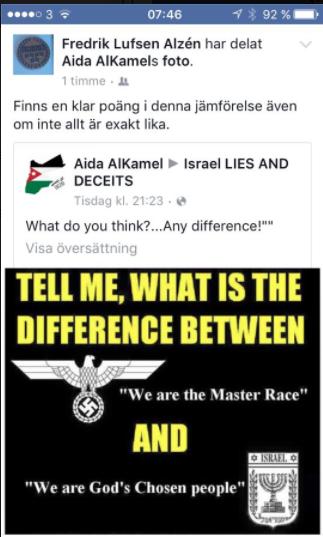 Skärmdump från Fredrik Alzén, förtroendevald i SEKO, Facebooksida