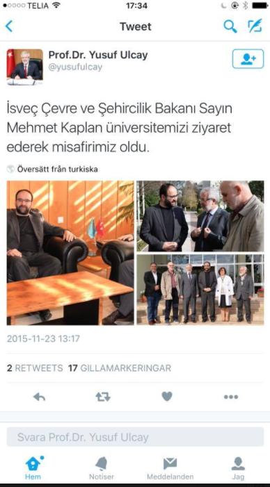 Mehmet Kaplan fångad på bild och Twitter den 23 november.