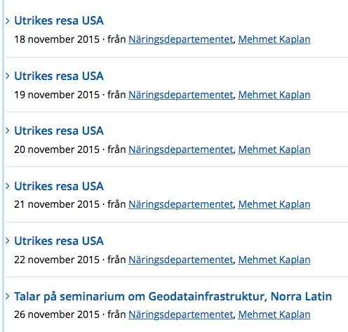 Skärmavbild regeringen.se kalendarium