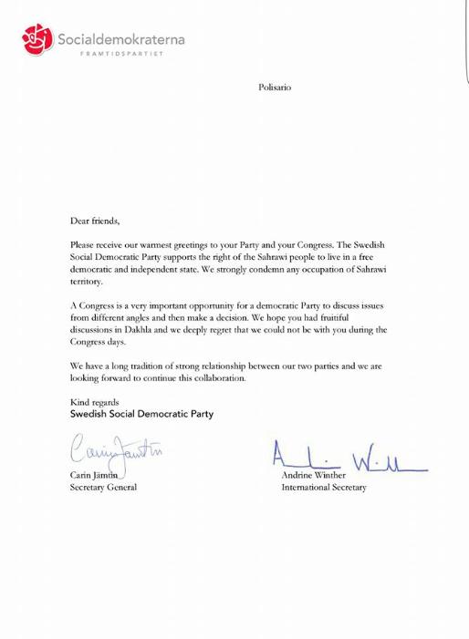 Carin Jämtins skrivelse till Polisario