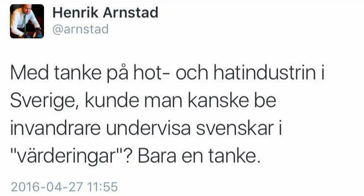 Skärmavbildning Henrik Arnstads Facebook-sida