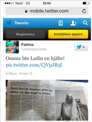 Screenshot of Fatima Doubakils twitter feed