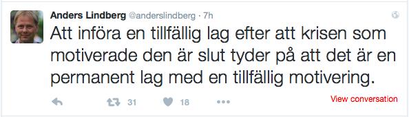 Skärmklipp från Anders Lindbergs Twitter-flöde.