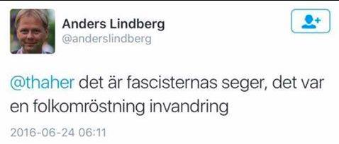 Det nu raderade inlägget på Twitter från Anders Lindberg, Aftonbladets tillförordnade chef för Ledarredaktionen
