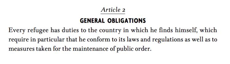 Skärmavbildning av FN:s flyktingkonventions andra artikel.