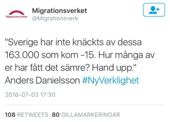 Skärmavbildning från Migrationsverkets officiella twitterkonto.