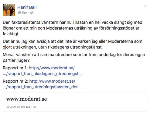 Skärmavbildning från Hanif Balis Facbook.