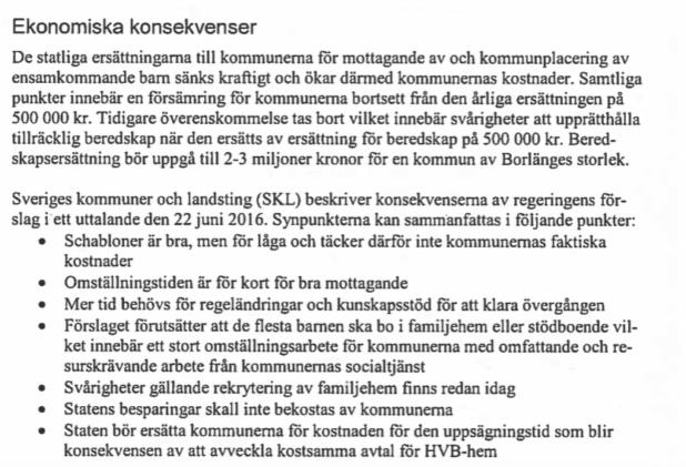Utdrag ur Borlänge Kommuns remissvar.