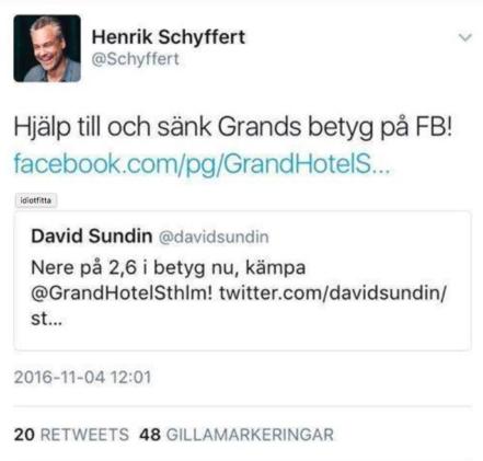 Skärmavbildning från Henrik Schyfferts twitterflöde.