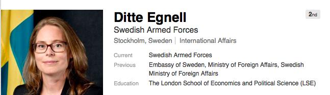 Skärmavbildning Ditte Egnells Linked In sida