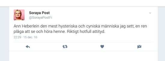 Skärmavbildning Soraya Post Twitterflödet. En tweet som hon senare raderade.