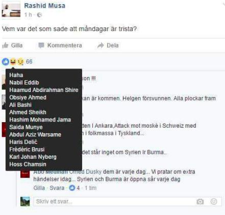 Skärmklipp från Rashid Musa:s numera raderade uppdatering på Facebook