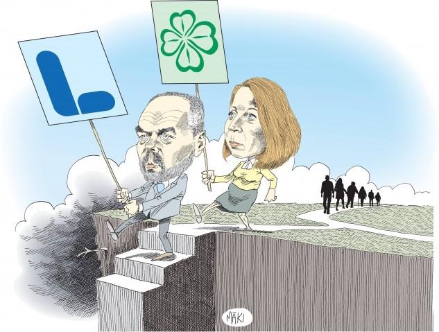 Liberaler nedför trappan mot slutdestinationen