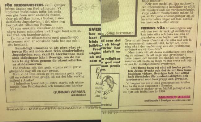 Svenska kyrkans julhälsning 1993 - Med en biklang av antisemitism